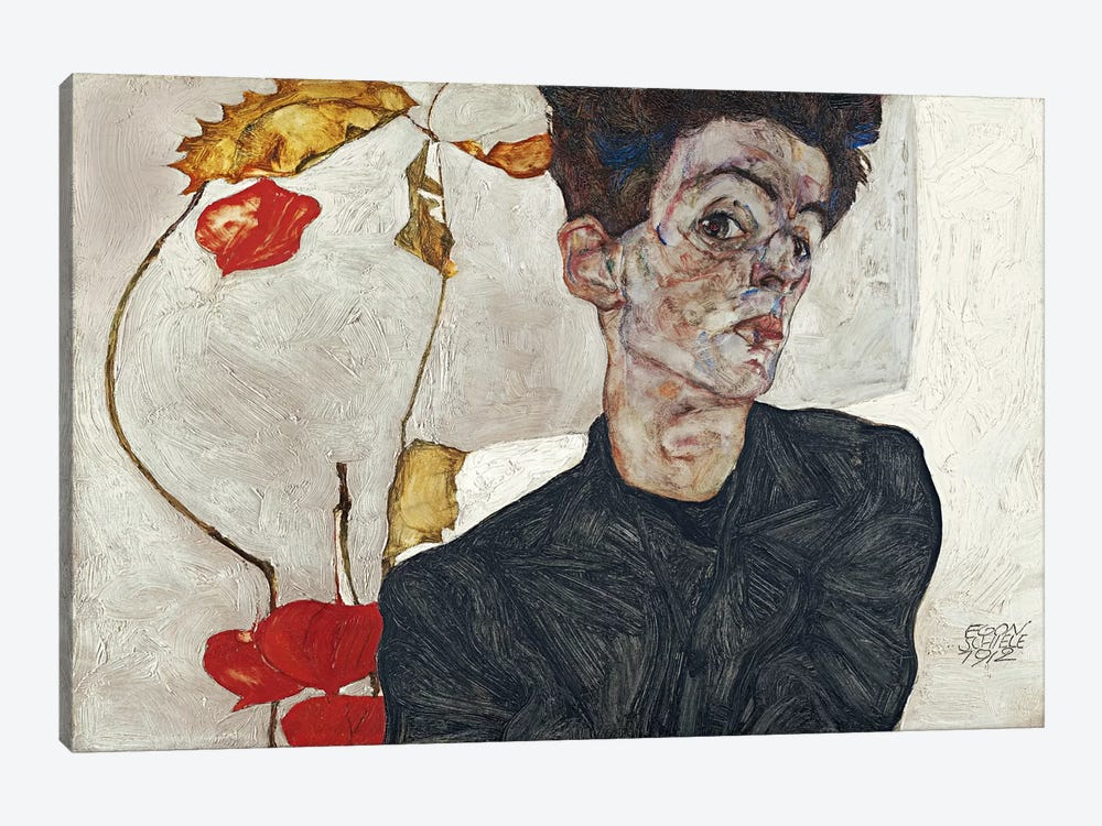 Self-Portrait with Physalis by Egon Schiele 1-piece Canvas Artwork