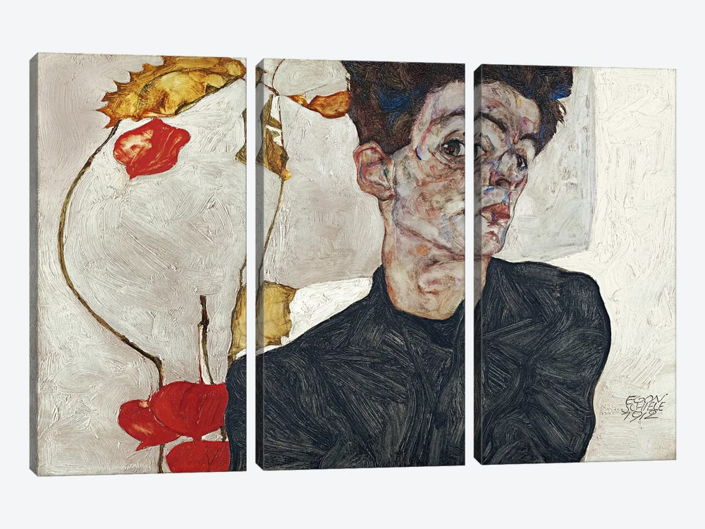 Self-Portrait with Physalis by Egon Schiele 3-piece Canvas Wall Art