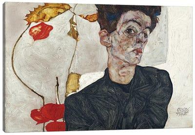 Self-Portrait with Physalis Canvas Art Print