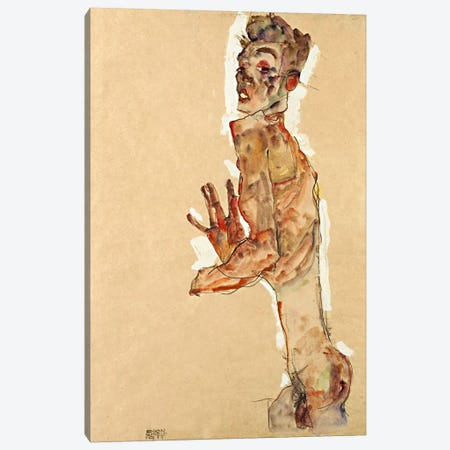 Self-Portrait with Splayed Fingers Canvas Print #8300} by Egon Schiele Art Print