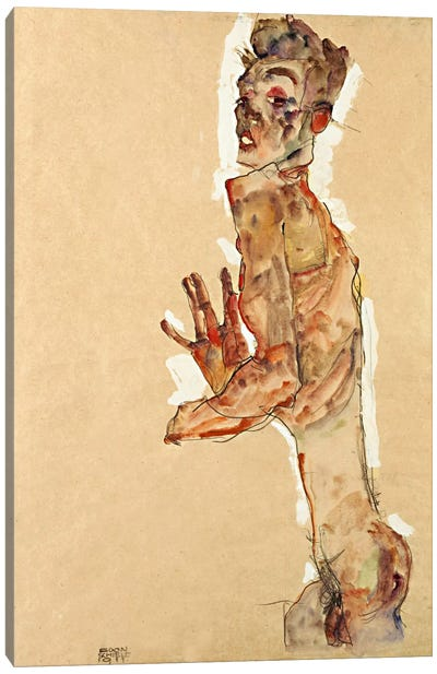 Self-Portrait with Splayed Fingers Canvas Art Print