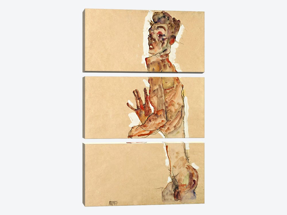Self-Portrait with Splayed Fingers by Egon Schiele 3-piece Canvas Art Print