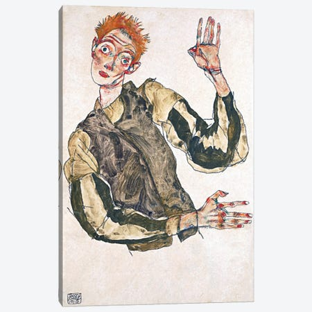 Self-Portrait with Striped Armlets Canvas Print #8301} by Egon Schiele Art Print