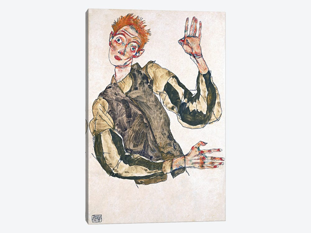 Self-Portrait with Striped Armlets by Egon Schiele 1-piece Canvas Wall Art