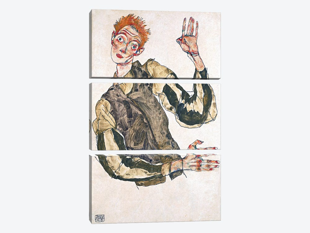 Self-Portrait with Striped Armlets by Egon Schiele 3-piece Canvas Artwork