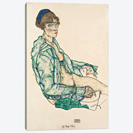 Sitting Semi-Nude with Blue Hairband Canvas Print #8302} by Egon Schiele Canvas Print