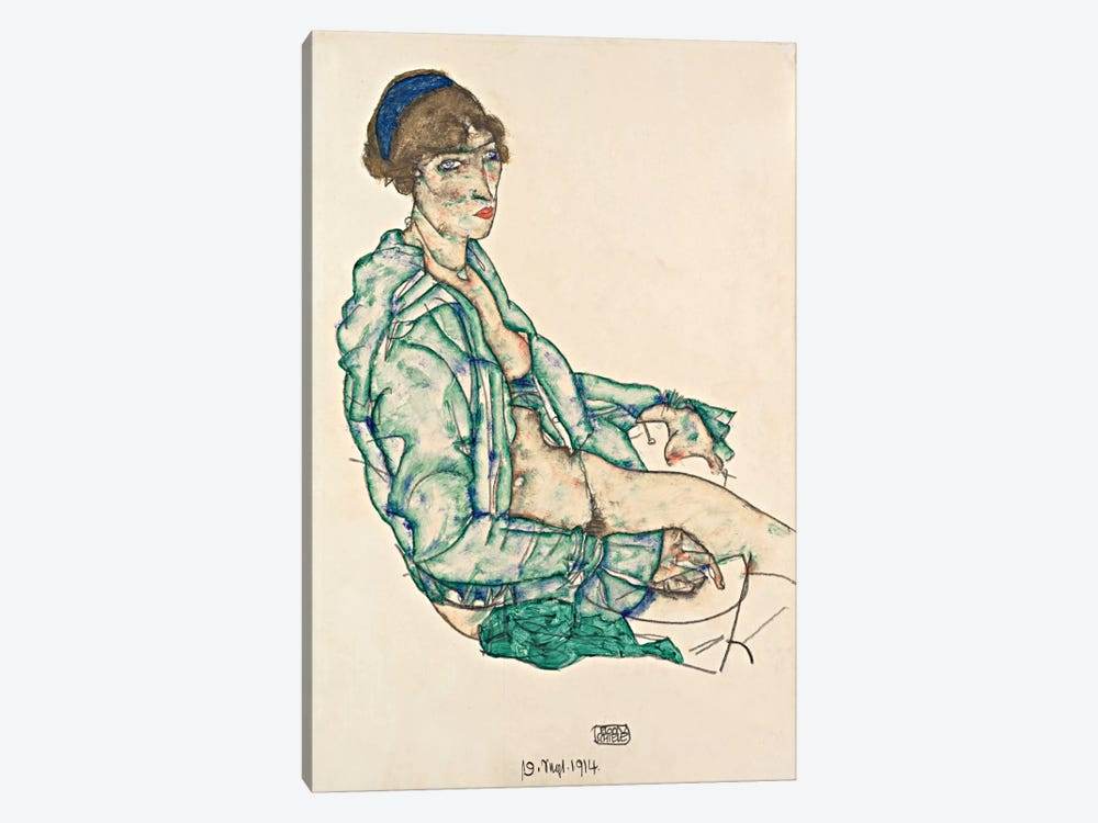 Sitting Semi-Nude with Blue Hairband by Egon Schiele 1-piece Art Print