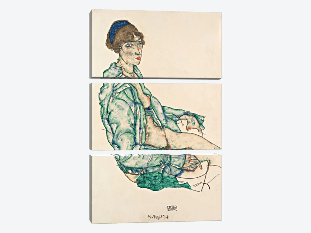 Sitting Semi-Nude with Blue Hairband by Egon Schiele 3-piece Canvas Art Print