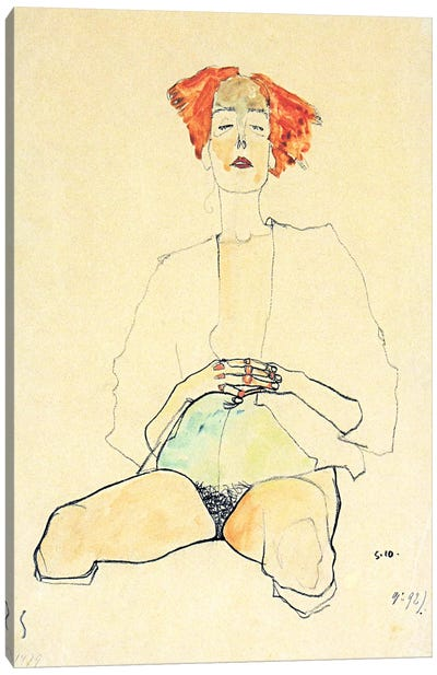 Sedentary Half Act with Red Hair Canvas Print #8303