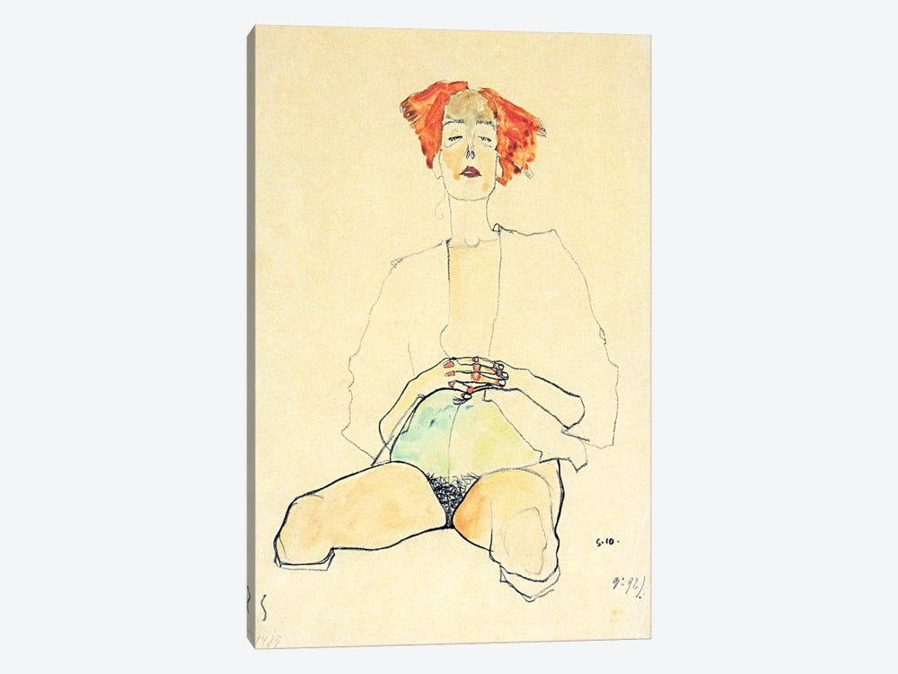 Sedentary Half Act with Red Hair by Egon Schiele 1-piece Canvas Artwork