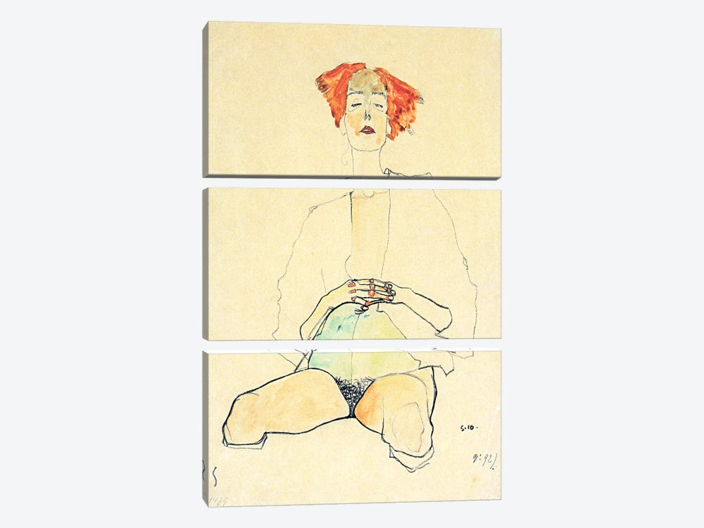 Sedentary Half Act with Red Hair by Egon Schiele 3-piece Canvas Art