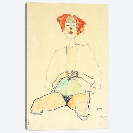 Sedentary Half Act with Red Hair Canvas Print #8303} by Egon Schiele Art Print