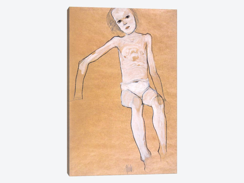Seated Nude Girl II by Egon Schiele 1-piece Canvas Print