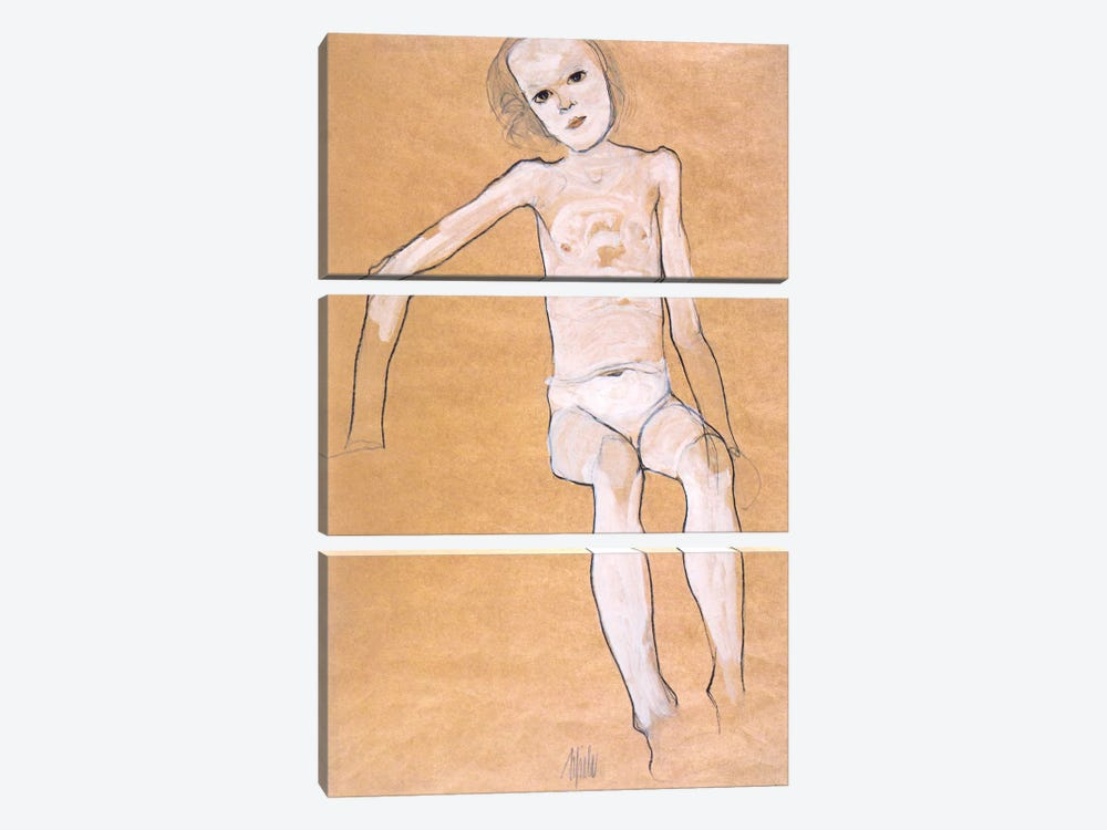 Seated Nude Girl II by Egon Schiele 3-piece Art Print