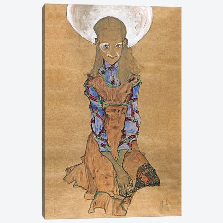 Seated Girl (Poldi Lodzinsky) Canvas Print #8305} by Egon Schiele Canvas Art