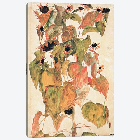 Sunflowers Canvas Print #8308} by Egon Schiele Canvas Art Print