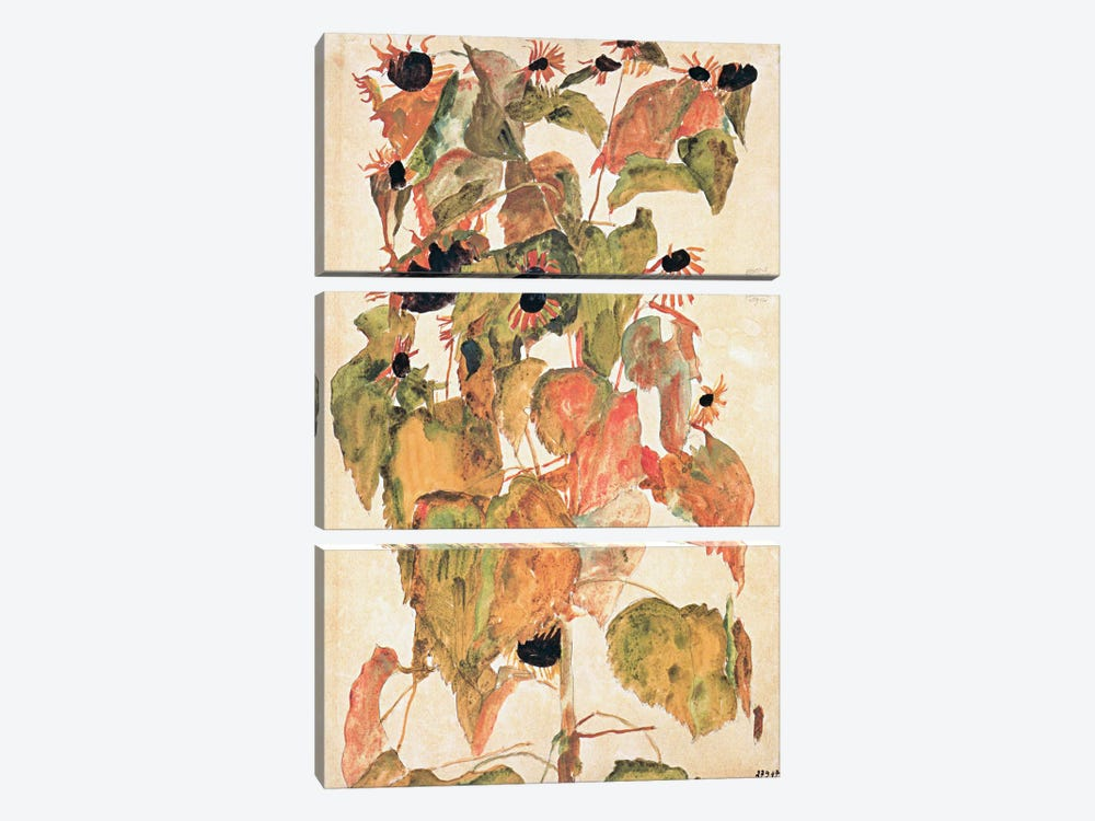 Sunflowers by Egon Schiele 3-piece Art Print