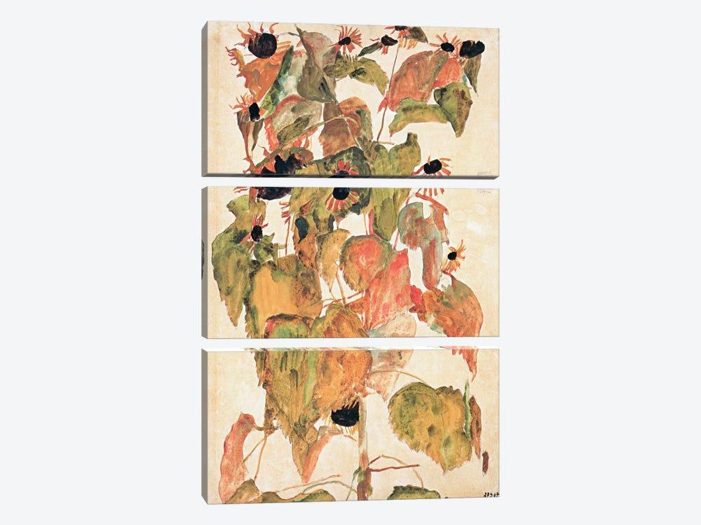 Sunflowers by Egon Schiele 3-piece Art Print