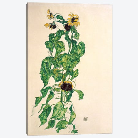 Sunflowers II Canvas Print #8309} by Egon Schiele Canvas Art Print