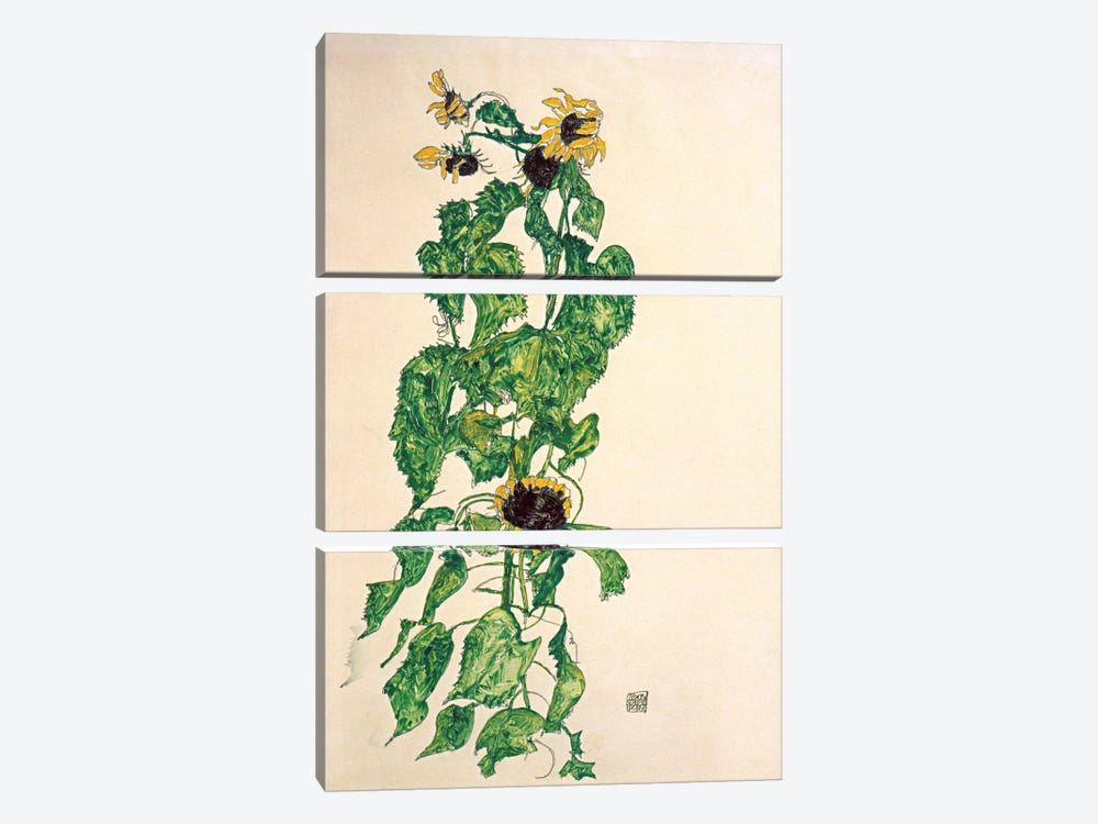 Sunflowers II by Egon Schiele 3-piece Canvas Artwork