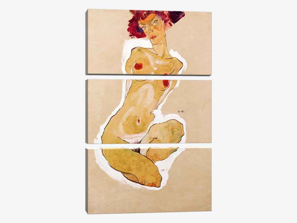 Squatting Female Nude by Egon Schiele 3-piece Canvas Artwork