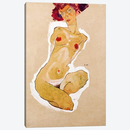 Squatting Female Nude Canvas Print #8310} by Egon Schiele Canvas Artwork