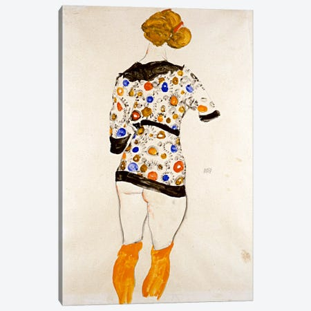 Standing Woman in a Patterned Blouse Canvas Print #8311} by Egon Schiele Canvas Wall Art