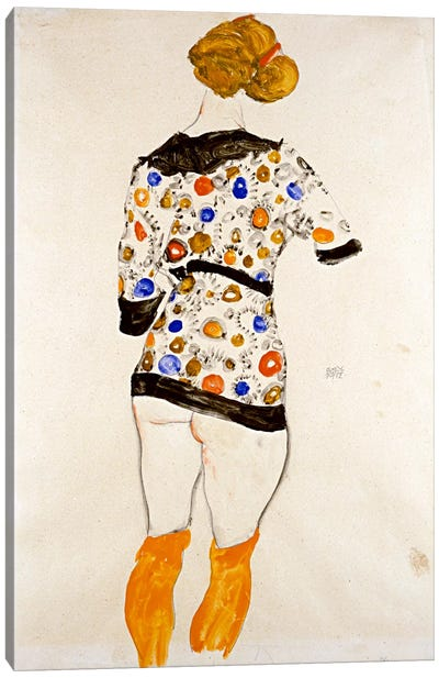 Standing Woman in a Patterned Blouse by Egon Schiele Canvas Wall Art