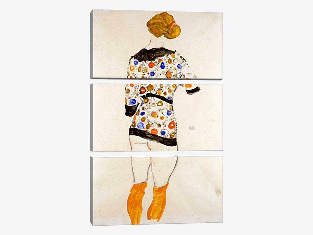 Standing Woman in a Patterned Blouse by Egon Schiele 3-piece Canvas Print