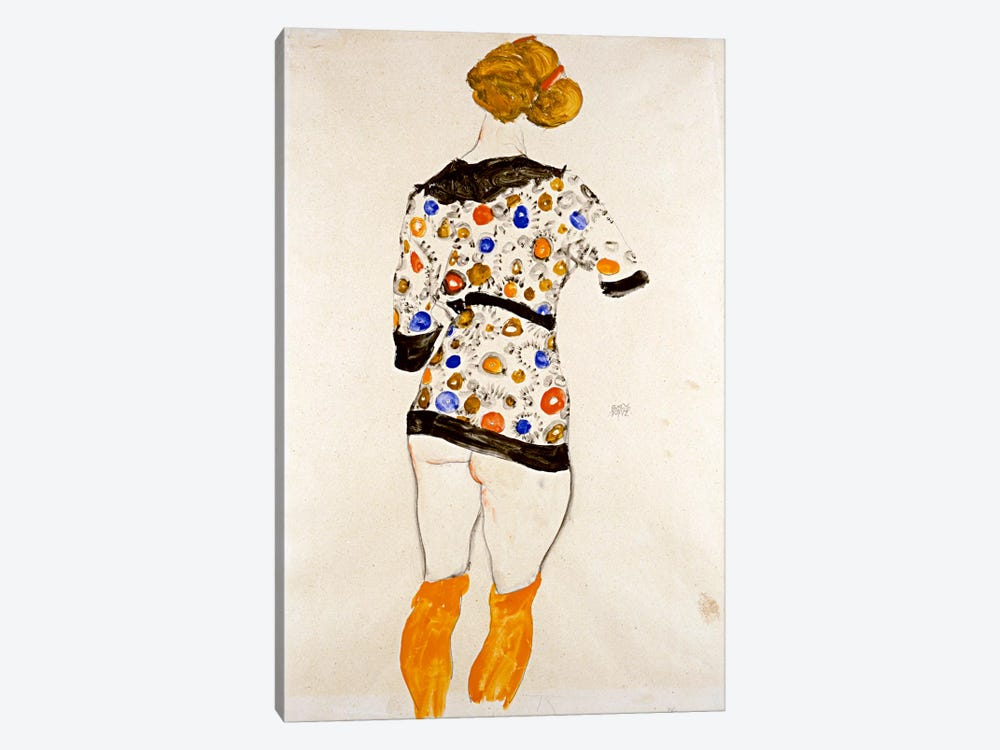 Standing Woman in a Patterned Blouse by Egon Schiele 1-piece Canvas Print