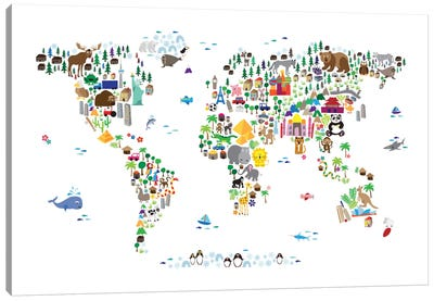 Animal Map of The World Canvas Art Print