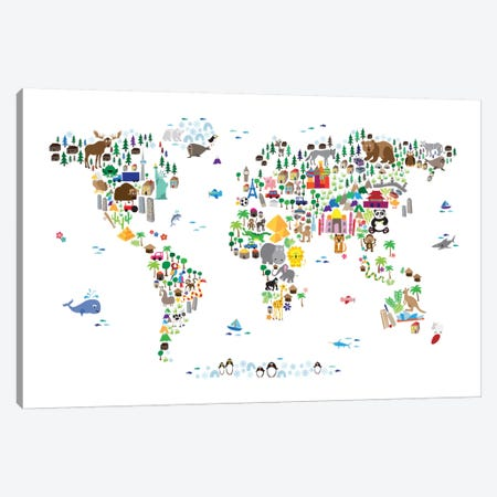 Animal Map of The World Canvas Print #8762} by Michael Tompsett Art Print