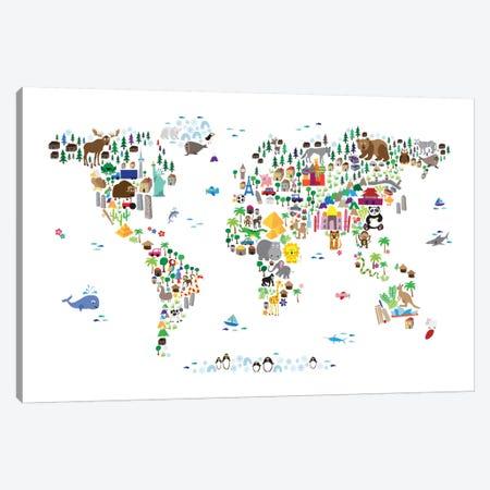 Animal Map of The World Canvas Print #8762} by Michael Tompsett Art Print