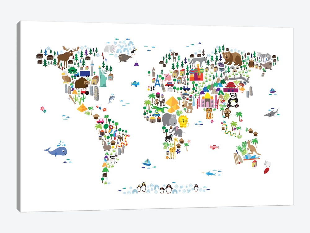 Animal Map of The World by Michael Tompsett 1-piece Canvas Wall Art