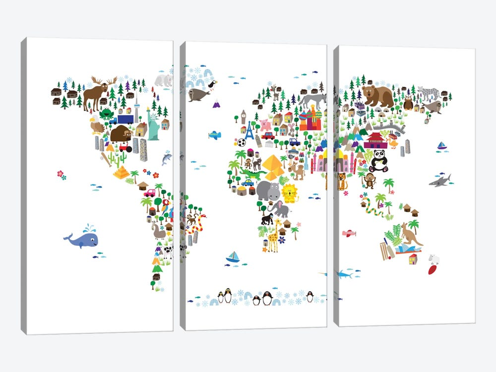 Animal Map of The World by Michael Tompsett 3-piece Canvas Wall Art