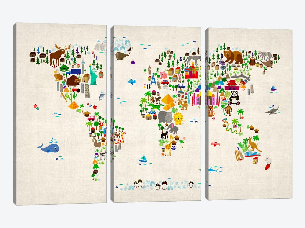 Animal Map of The World II by Michael Tompsett 3-piece Canvas Print