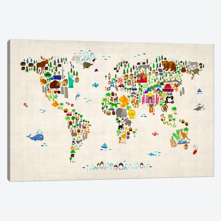 Animal Map of The World II Canvas Print #8763} by Michael Tompsett Canvas Print