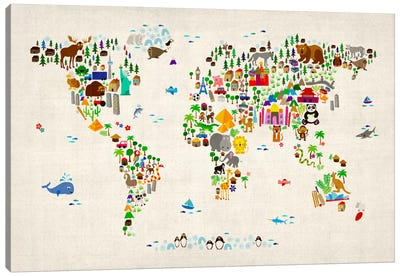 Animal Map of The World II Canvas Art Print