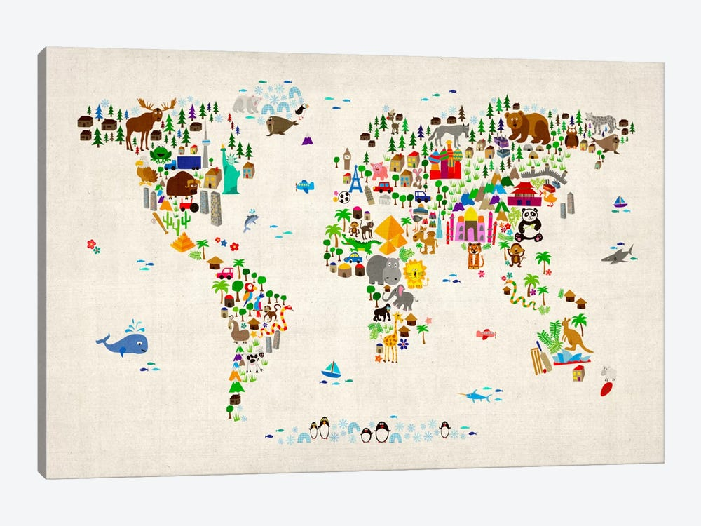 Animal Map of The World II by Michael Tompsett 1-piece Canvas Print