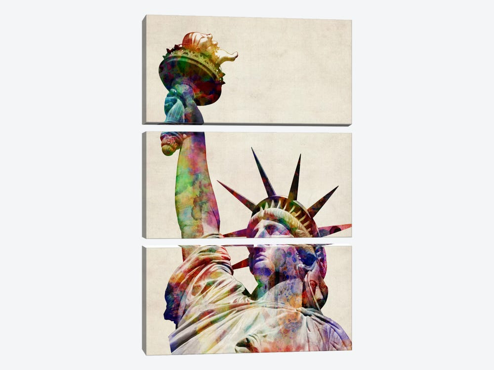 Statue of Liberty by Michael Tompsett 3-piece Canvas Wall Art