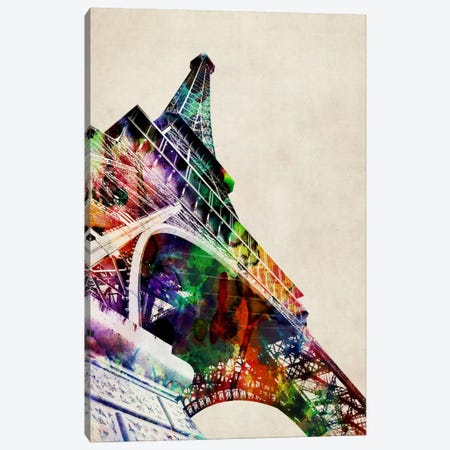 Eiffel Tower watercolor Canvas Print #8770} by Michael Tompsett Canvas Wall Art