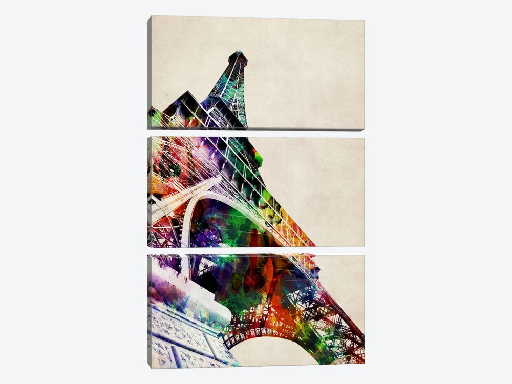 Eiffel Tower watercolor by Michael Tompsett 3-piece Canvas Art Print