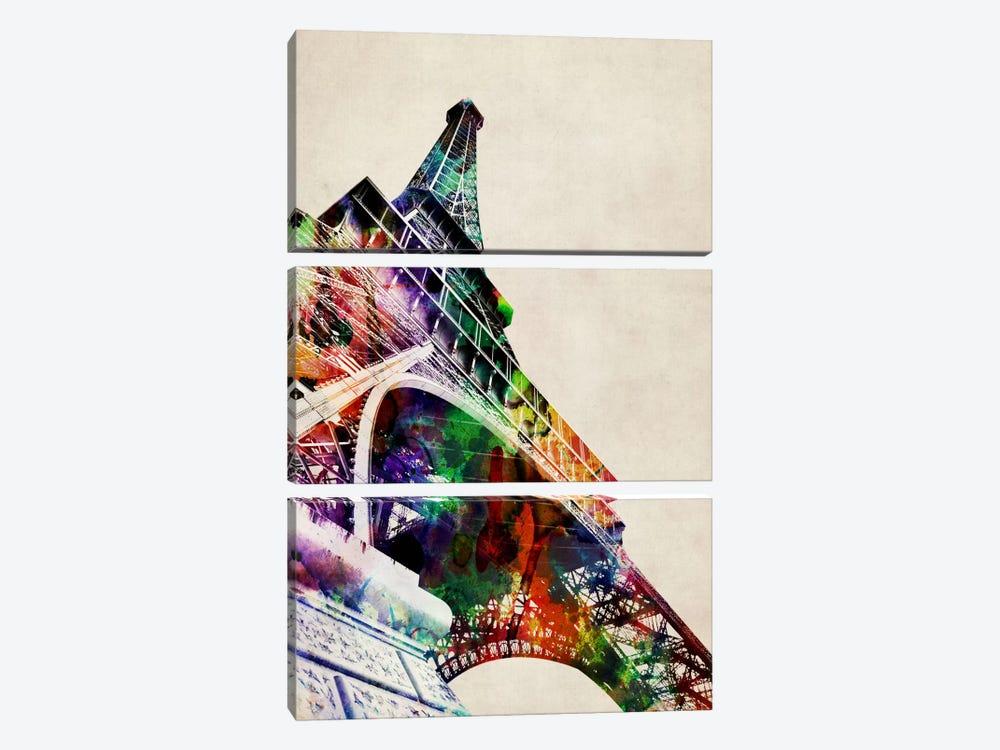 Eiffel Tower watercolor by Michael Tompsett 3-piece Canvas Art Print