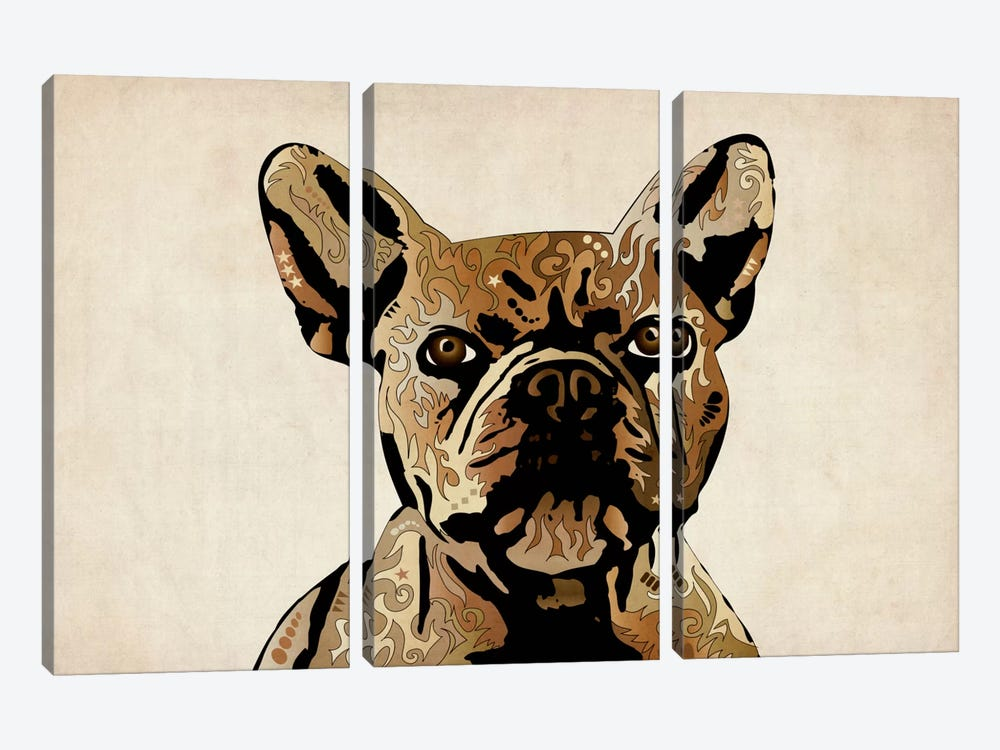 French Bulldog by Michael Tompsett 3-piece Canvas Art Print