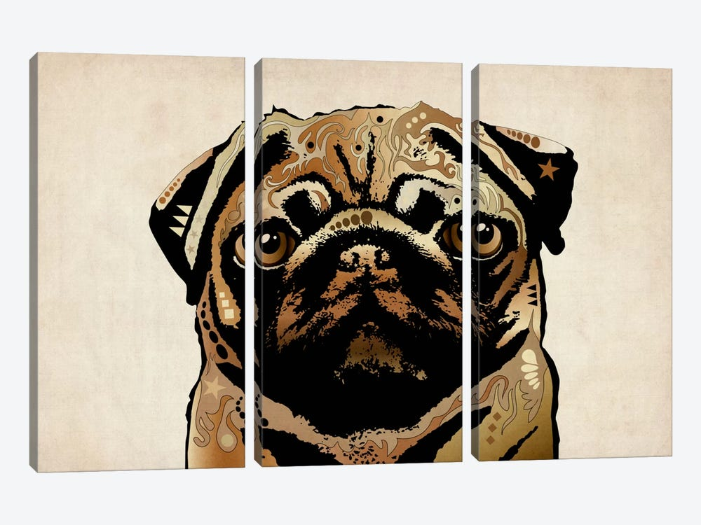 Pug Dog by Michael Tompsett 3-piece Canvas Art