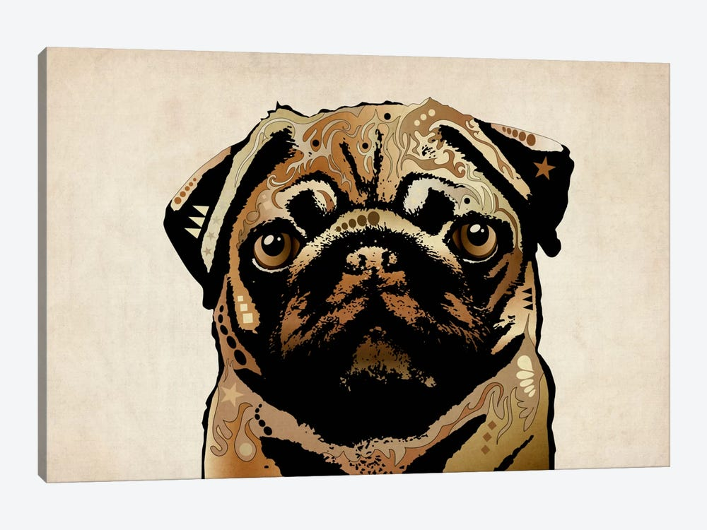 Pug Dog by Michael Tompsett 1-piece Canvas Art