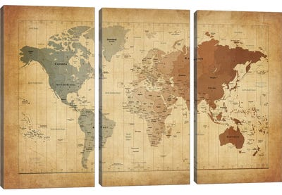 Map of The World III Canvas Art Print