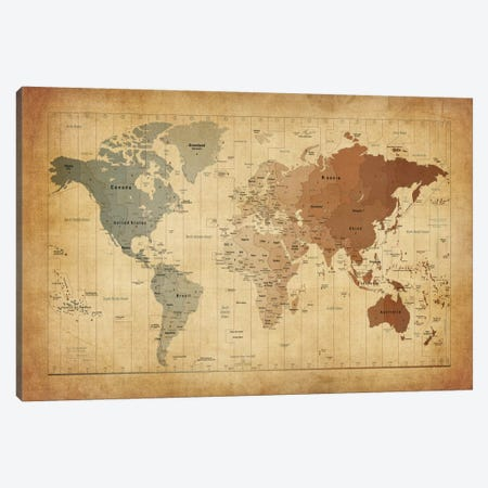 Map of The World III Canvas Print #8774} by Michael Tompsett Art Print