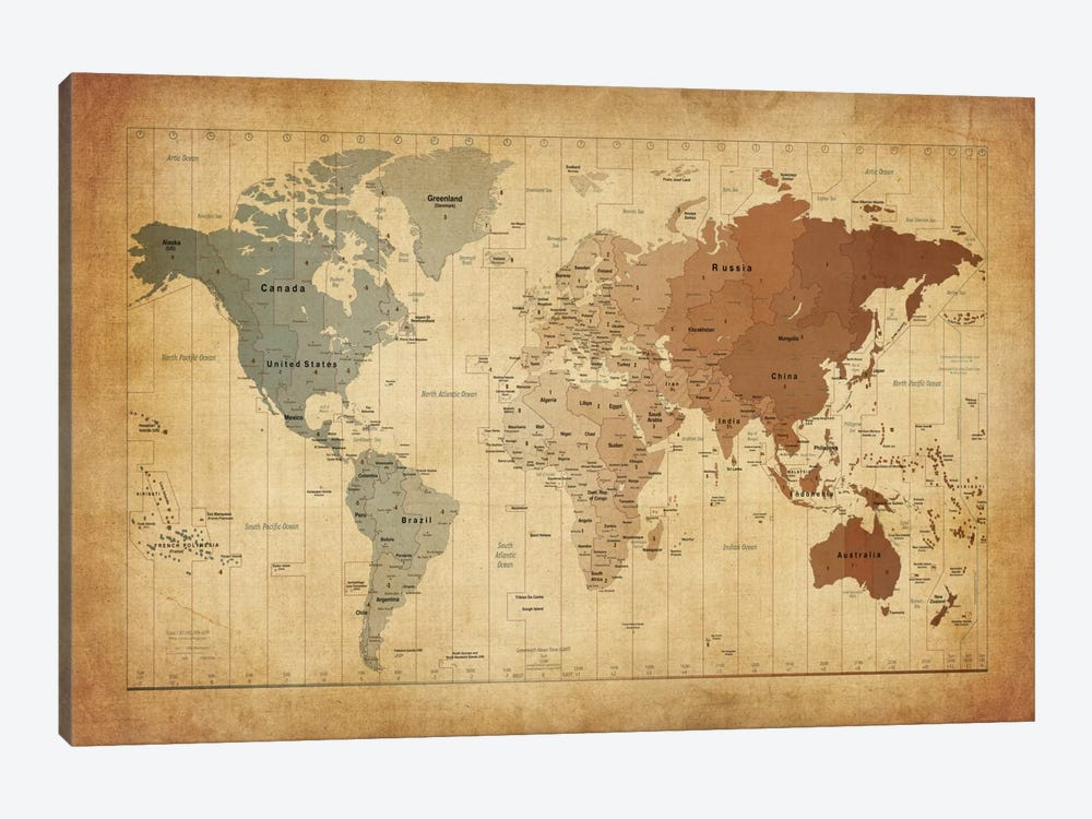Map of The World III Canvas Art Print by Michael Tompsett | iCanvas