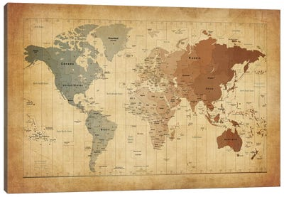Map of The World III Canvas Art Print